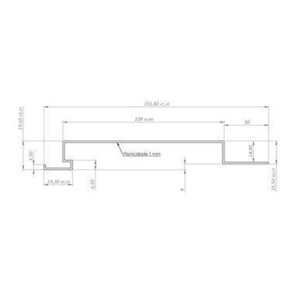 Lambri de 151,8 x 19,5 mm | 50cm | Pacote com 6 Unidades